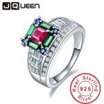 JQUEEN 5.73ct Ruby Emerald Sapphire 925 <b>Sterling</b> <b>Silver</b> Wedding Rings for Women Luxury <b>Jewelry</b> Female s925 <b>Silver</b> Drop Shipping