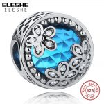 ELESHE 925 Sterling Silver Encased in Love,Blue Crystal CZ Daisy Heart Charm Fit Original ELESHE Bracelet DIY Authentic <b>Jewelry</b>