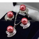 Prett Lovely Women's Wedding shipping> >>>>> Pink Rose South sea Shell Pearl Earrings Ring & Necklace Pendant Set