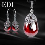 EDI Vintage Garnet 925 <b>Sterling</b> <b>Silver</b> Drop Earrings Gemstone Pendant Necklace For Women <b>Jewelry</b> Sets