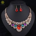Fashion Indian Jewellery Blue Crystal Necklace Earrings Bridal <b>Jewelry</b> Sets For Brides Party Wedding <b>Accessories</b> Decoration