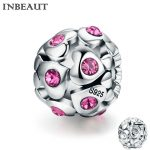 INBEAUT Women Trendy Beads for <b>Jewelry</b> <b>Making</b> 925 Sterling Silver Heart Pink Round Cubic Zirconia Charm fit Pandora Bracelet