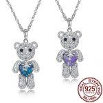 Genuine 925 Sterling <b>Silver</b> <b>Necklace</b> Pendant Cute Animal Bear LEKANI Crystals From Swarovski Women Fine Jewelry