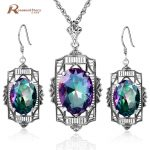 New Arrival Fashion Ladies Jewelry Soild 925 Sterling <b>Silver</b> Vintage Oval Rainbow Mystic Crystal Pendant <b>Earrings</b> Set for Women
