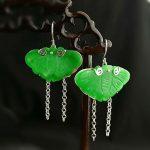 S925 <b>silver</b> new original handmade Vintage female Green Butterfly <b>Earring</b>