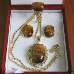 Prett Lovely Women's Wedding mujer brincos for <b>jewelry</b> Tiger Eye Stone Ring Earrings Pendant Set 5.23