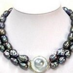 Free shipping> 2 rows of huge 11-13 MM TAHITIAN black baroque pearl <b>necklace</b>