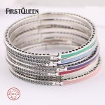 FirstQueen 100% 925 <b>Sterling</b> <b>Silver</b> 7 Colours Enamel Bangle Bracelet DIY For <b>Jewelry</b> Making 2017 Christmas Gift Fine <b>Jewelry</b>