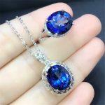 hot sale blue topaz 925 <b>sterling</b> <b>silver</b> fine <b>jewelry</b> set MEDBOO brand natural gemstone adjustable ring and pendant necklace set