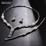 XIAGAO Parure Bijoux Femme Sets of <b>Jewelry</b> <b>Necklace</b> Earring Bracelet Women Crystal Wedding Decorations Costume Jewelery Sets