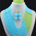 <b>Handmade</b> Crystal women necklaces costume jewellry nigerian wedding african beads <b>jewelry</b> set ABC797