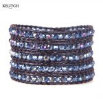 KELITCH <b>Jewelry</b> Bright Blue Crystal Beaded Bohemian Party Accessories <b>Handmade</b> Leather Strand 5 Wrap Women Bracelet For Gifts