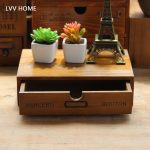 LVV HOME retro drawer wooden storage box/Office desktop finishing boxes ome bedside debris storage <b>supplies</b>