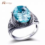 Classic Boho Vintage Punk 925 Sterling <b>Silver</b> Rings Carving Blue Stone Crystal For Women /Men Bohemian Ring Set <b>Jewelry</b> Anillos