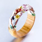 Wood and Resin Bangles for Women Transparent Real Flowers <b>Handmade</b> Rhombus Face Bracelet Fashion <b>Jewelry</b> Pulseras
