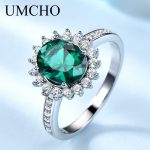 UMCHO Classic Created Nano Emerald Gemstone Rings Real 925 Sterling <b>Silver</b> Rings Charming For Women Birthday Gifts Fine <b>Jewelry</b>