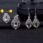 Natural blue topaz gem jewelry sets natural green crystal ring Pendant <b>Earrings</b> 925 <b>silver</b> Elegant Hollow women fine jewelry