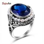 Szjinao <b>Handmade</b> Rose Sapphire <b>Jewelry</b> Natural Pearl Big Rings For Women Gift 925 sterling-silver-<b>jewelry</b> Wholesale
