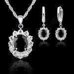 Giemi Elegant Flower Shape Women Wedding Necklace Earring <b>Jewelry</b> Sets 925 Sterling Silver Cubic Zirconia Crystal Girls Gifts