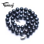 FENASY fine big oval pearl 9-12mm natural freshwater black pearl necklace for women gift,pearl <b>jewelry</b> choker necklace classic