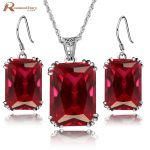 High Quality Square Red Stone Crystal Set Ladies Jewelry Sterling <b>Silver</b> 925 Fashion Jewellery Sets Christmas Gifts