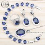 Women 925 <b>Silver</b> Bridal Jewelry Sets Blue Zircon Earrings Rings With Stones Pendant&Necklace <b>Bracelet</b> Set Jewelery Gift Box