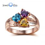 Personalized Engrave <b>Jewelry</b> 3 Birthstone Mothers Rings 925 Sterling Silver Name Ring Gift For Mother Day (JewelOra RI102345)