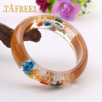 TAFREE Charm Wood Transparent Resin Bangle Bracelet Mixed Dried Flower Starfish Conch Bracelet Women <b>Jewelry</b> RF29