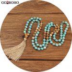 Go2boho Women Statement 2018 Necklace Long Natural Stones <b>Jewelry</b> Boho Necklaces Maxi Tassel 8mm Mala Beads Handmade Meditation