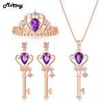 MoBuy Natural Gemstone Vintage Keys 3pcs Jewelry Sets 100% 925 Sterling <b>Silver</b> For Women Engagement Fine Jewelry V010ENR