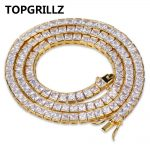 TOPGRILLZ Gold&<b>Silver</b> Color Iced Out 1 Row 6mm Micro Pave CZ Stone <b>Necklace</b> 20″ 24″ 30″ Length Box Chain Hip Hop Jewelry For Men