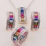 Morganite Blue Crystal Zircon Garnet 925 <b>Sterling</b> <b>Silver</b> <b>Jewelry</b> Set Pendant Earrings Ring