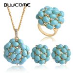 Blucome Luxurious <b>Jewelry</b> Sets Big Long Pendants <b>Necklace</b> Max Brincos Wedding Rings French Hooks Earrings Women Party Bijoux