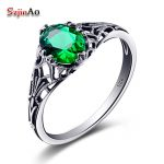 Szjinao factory Bulgaria <b>Jewelry</b> Emerald Vintage Charms 925 Sterling <b>Silver</b> Emarald Ring for Women Wedding Favors and Gifts