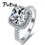 PATICO Luxury 100% 925 Sterling Silver Rings for Women Wedding Engagement Acessories Cubic Zirconia <b>Jewelry</b> Big Promotion