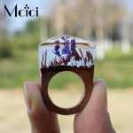 Fashion Design Resin <b>Handmade</b> Wood Rings <b>Jewelry</b> for Women with Plant Flower Transparent Style Female Gift Wedding Party <b>Jewelry</b>