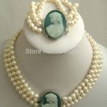 (Minimum Order1)Natural 3 row 7-8mm White Akoya Pearl Cameo Necklace Bracelet Beads <b>Jewelry</b> Set <b>Making</b> Natural Stone 18inch