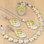 Mystical 925 <b>Silver</b> Jewelry Sets Yellow CZ White Stone For Women Party Earrings/Pendant/Rings/<b>Bracelet</b>/Necklace Set