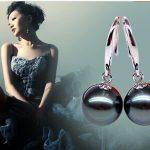Eternal wedding Women Gift word 925 <b>Sterling</b> <b>silver</b> real Natural pearl Tahitian Black Pearl 10-11MM Ear Hook <b>Earrings</b> 925 sterli