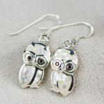 925 <b>silver</b> <b>jewelry</b> wholesale cartoon cute Owl Earrings <b>Sterling</b> <b>Silver</b> Earrings shell exquisite craft female models