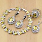Trendy 925 <b>Silver</b> Bridal Jewelry Yellow Cubic Zirconia Jewelry Sets For Women Wedding Earrings/Pendant/Necklace/Rings/<b>Bracelet</b>