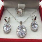 925 <b>Sterling</b> <b>Silver</b> Necklace Pendant Earrings Ring Size Clear White Zircon Rhinestone <b>Jewelry</b> Sets For Women Free shipping