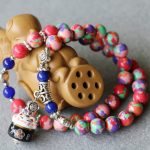 8mm Colorful Turkey Stone Bracelet For Women Ceramic Cat Pendant Female Bracelet Multilayer Chain Natural Stone <b>Jewelry</b> <b>Making</b>