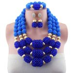 <b>Handmade</b> Blue Women Costume Nigerian Wedding Copper Bridal <b>Jewelry</b> Set African Beads <b>Jewelry</b> Set 2018 New Arrival Free Shipping