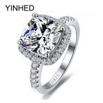 YINHED 100% 925 <b>Sterling</b> <b>Silver</b> Ring <b>Jewelry</b> Stamped S925 Big 4 Carat CZ Diamant Wedding Rings For Women SIZE 5 6 7 8 9 10 Z001