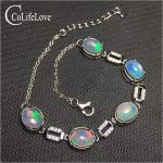Excellent brilliance opal <b>silver</b> bracelet for woman 6mm*8mm natural opal bracelet 925 <b>sterling</b> <b>silver</b> opal <b>jewelry</b> for party