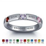 Customize 925 Sterling <b>Silver</b> Engrave Name Mother Rings With Birthstones Fine <b>Jewelry</b> Personalised Gift For Moms (RI101978)
