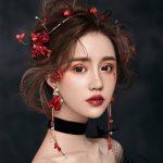 ROSE LIFE Red ornate flowers married crystal headband ear clip set wedding hair <b>accessories</b> for women wedding crown