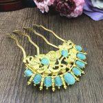 2pc Copper Cat's Eye Hair Comb Blue Stone Bridal Headpiece Combs Hair <b>Jewelry</b> <b>Wedding</b> Hair Accessories Bijoux Cheveux WIGO1278