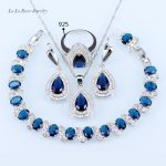 L&B Dark Blue Crystal Jewelry Sets White zircon <b>silver</b> Color 925 Logo jewelry Water Drop <b>Bracelets</b>/Earrings/Necklace/Ring